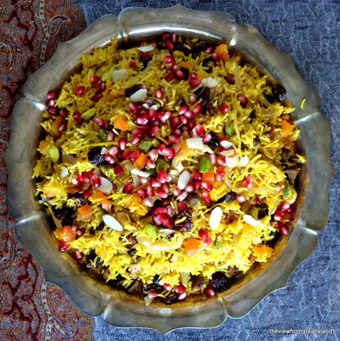 Persian Jeweled Rice on a silver platter