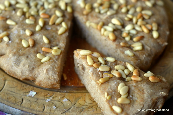 Whole Wheat Skillet Focaccia with Pine Nuts