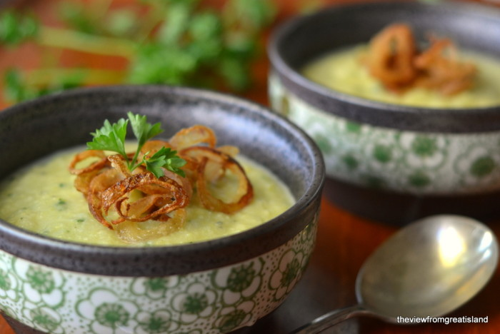 Green Cauliflower Soup with Fried Shallots