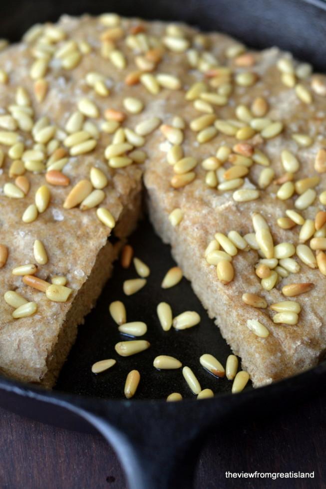 skillet whole wheat focaccia bread