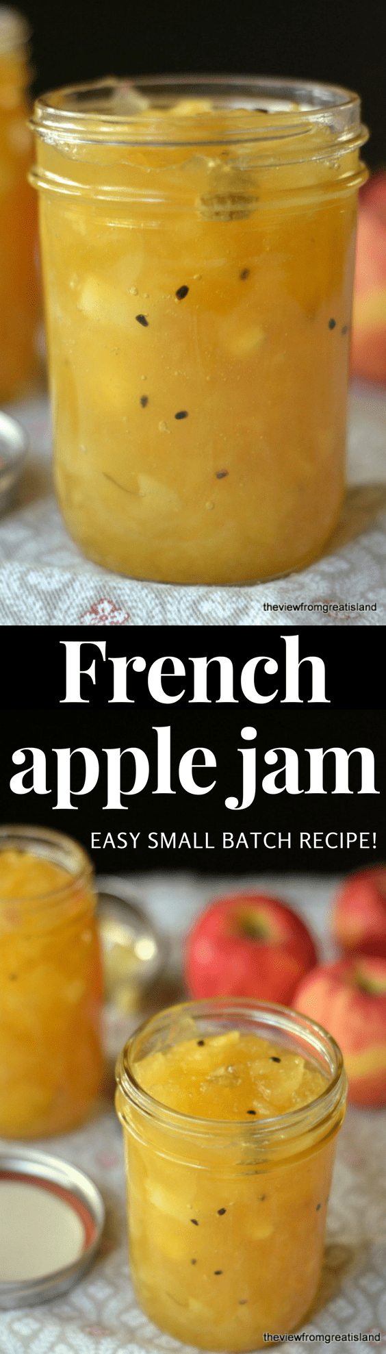 This unique small batch French Apple Jam is easy to make, has a gorgeous golden color, a fresh apple flavor, a chunky texture, and a surprise hint of spice from the cardamom. #jam #apples #preserves #cardamom #smallbatch #freezerjam #fallrecipe #foodgift #hostessgift #applejam #breakfast #brunch #canning #French