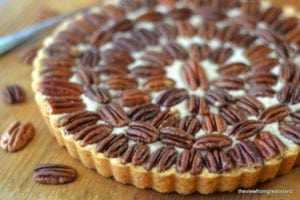 Pecan Pie Shortbread on a wooden table