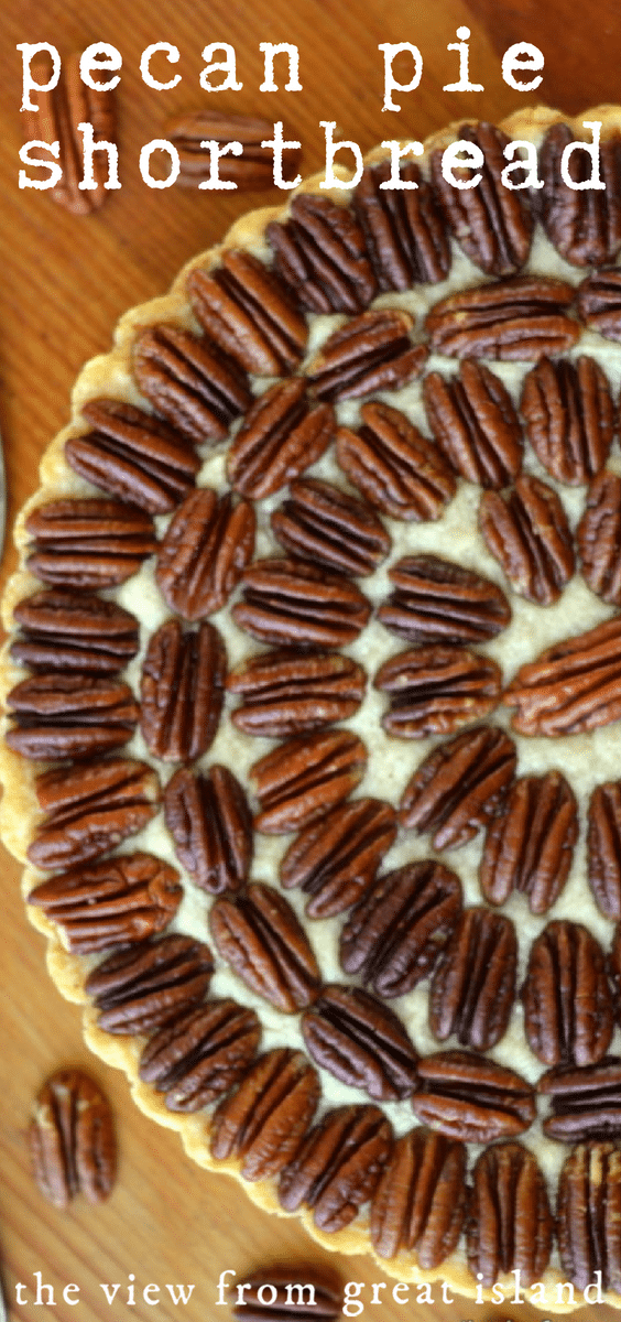 Pecan Pie Shortbread --- this cookie/pie mashup is a fun twist on tradition.  It looks just like a classic pecan pie, but underneath the crunchy pecans there's a thick layer of  buttery vanilla shortbread. #pie #dessert #pecans #recipe #thanksgiving #shortbread #cookiepie #homemade #easy #holidaydessert #holidays #Christmas #pecanpie #pie #tart