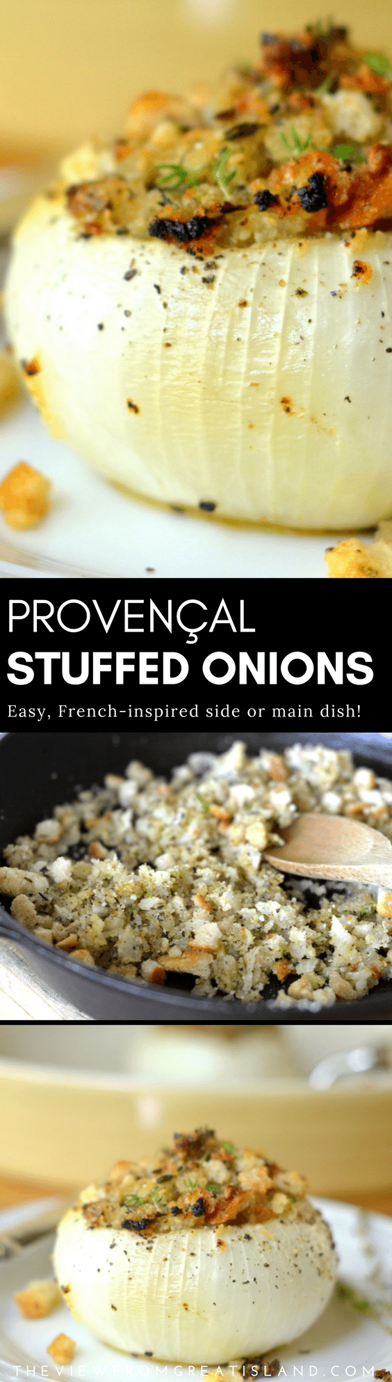 Provençal Style Stuffed Onions are a wonderfully elegant and easy French inspired side dish that goes from holiday feasts to everyday meals. #stuffedonions #onions #vegetarian #thanksgivingside #herbesdeprovence #sidedish #vegetables #stuffedonionrecipe