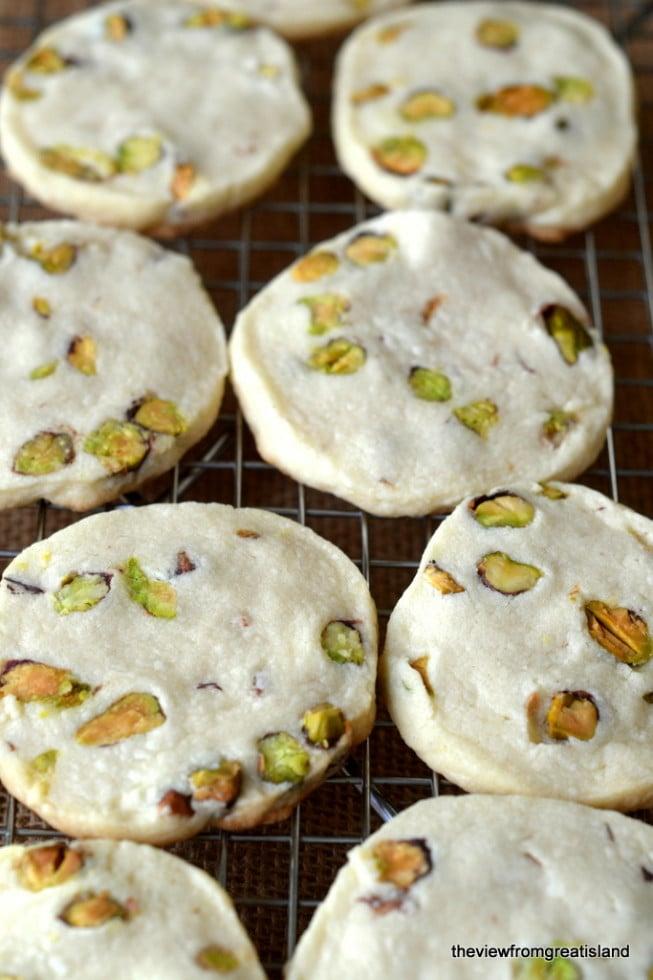 Pistachio Shortbread Cookies cooling