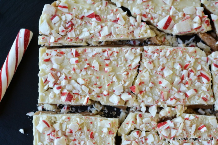 Candy Cane Toffee, cut