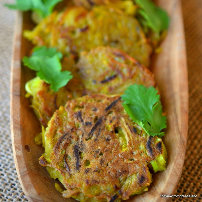 Golden Beet and Leek Fritters Closeup