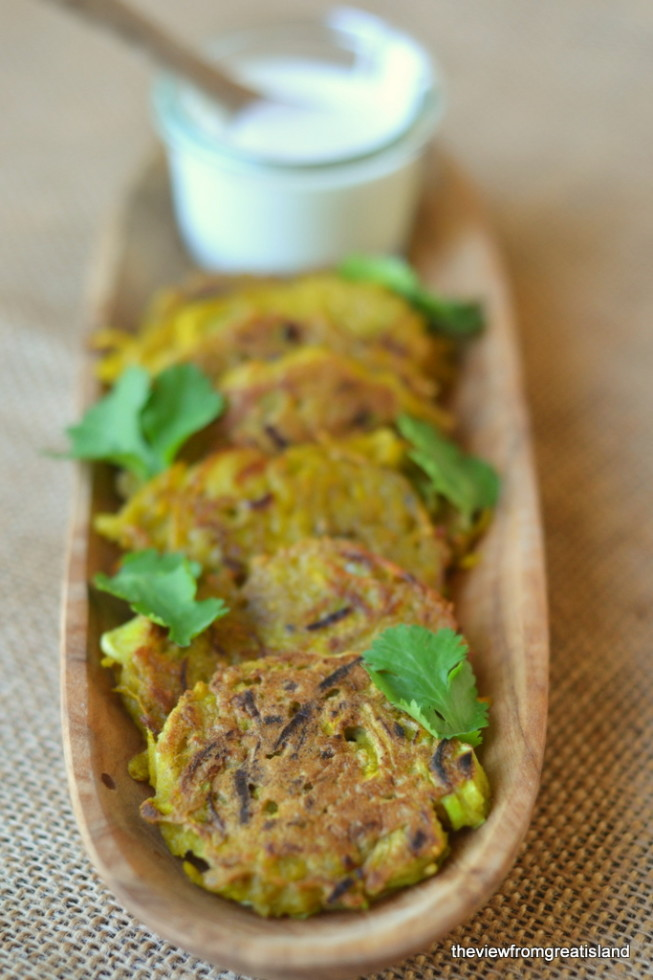 Golden Beet and Leek Fritters 1