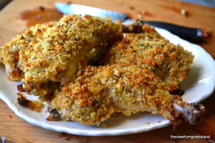 Ina Garten's Mustard Roasted Chicken, platter