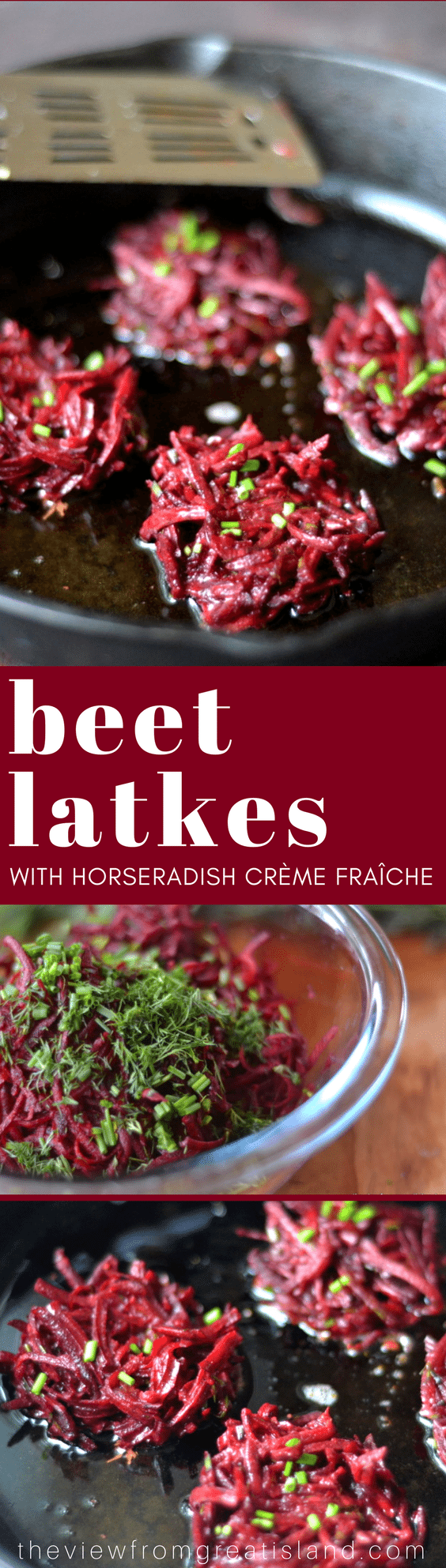 Beet Latkes with Horseradish Crème Fraîche ~ a delicious and vibrant riff on classic potato latkes that will have everyone begging for seconds! #beets #latkes #vegetables #fritters #vegetarian #vegan #Passover #hanukkah #Jewishrecipes #breakfast #sidedish