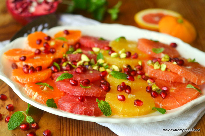 Healthy and beautiful Citrus Salad with Pomegranates and Pistachios