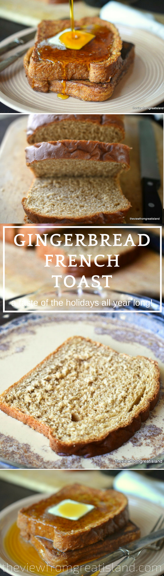 Gingerbread French Toast ~ the simple addition of molasses and a few spices transforms plain French toast into something worthy of lingering over. #breakfast #bread #gingerbread #holidaybreakfast #Christmasbreakfast #molasses #brunch