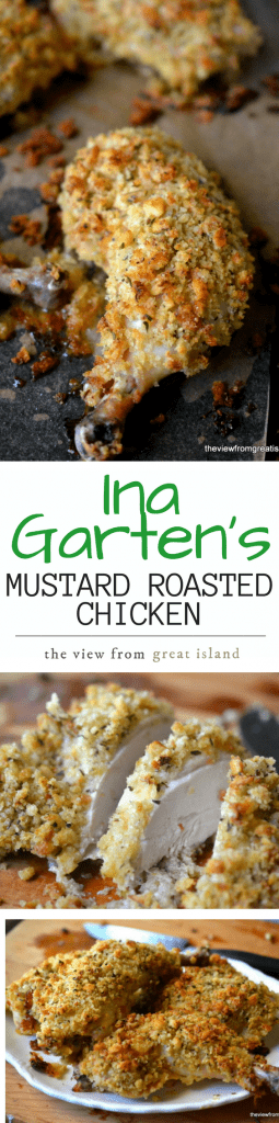 Ina Garten's Mustard Roasted Chicken is tender and succulent with a crunchy mustard and thyme crumb coating ~ it's become a favorite in our house! |dinner | comfort food | entertaining | easy chicken | Healthy |