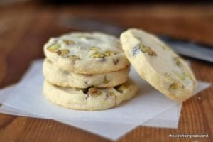 A stack of pistachio cookies