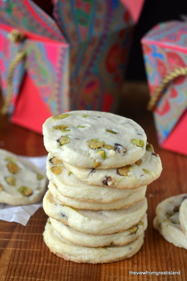 A stack of pistachio shortbread cookies