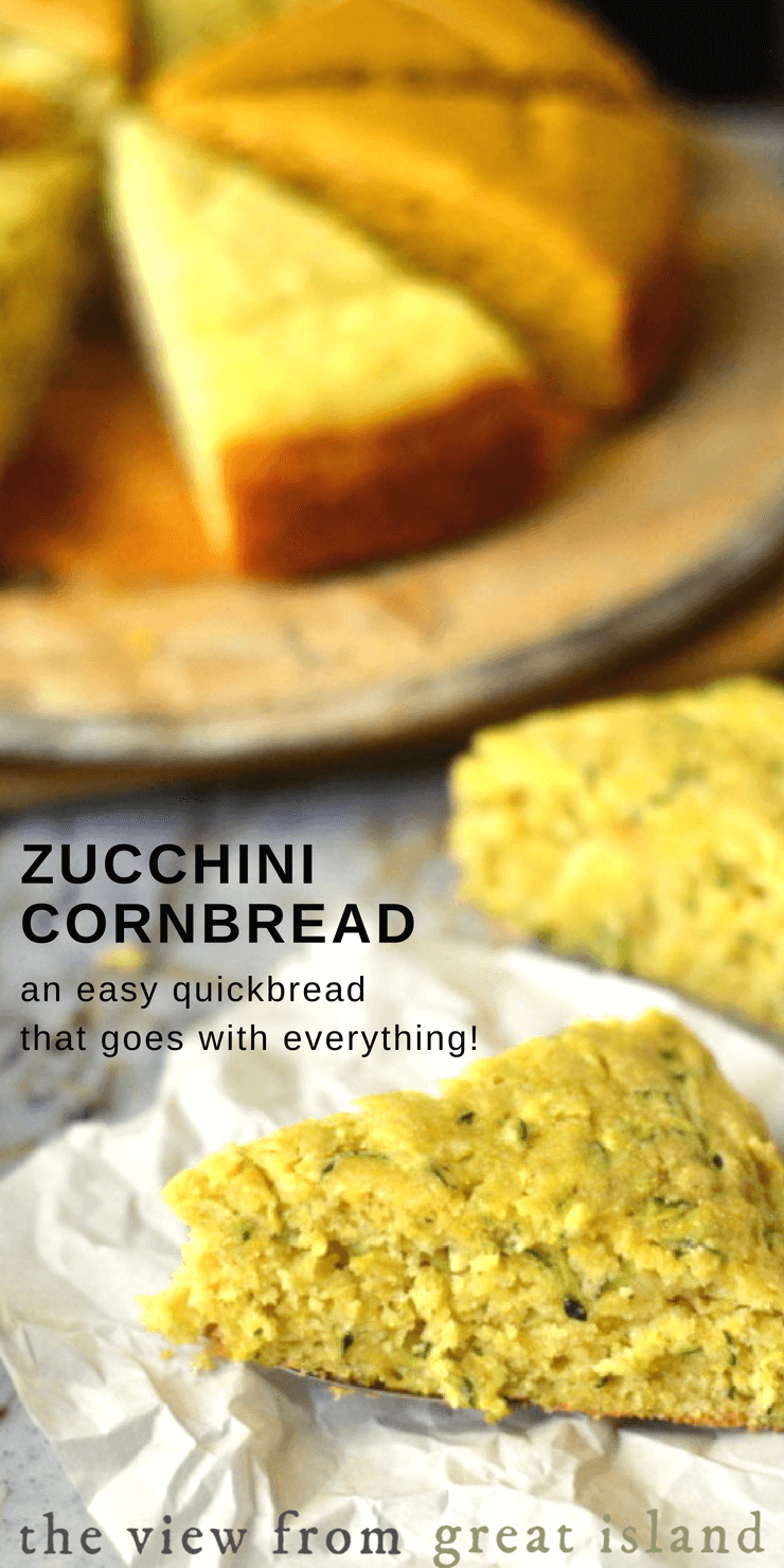 Zucchini Cornbread is a moist variation on one of the most versatile quick breads around.  Pair it with chili, chowder, soup, stews, baked beans, ribs, ham, and of course, fried chicken.  But this easy cornbread is delicious enough to stand on its own. #quickbread @zucchini #cornbread #cornmeal #sidedish #southern #noyeastbread #nokneadbread