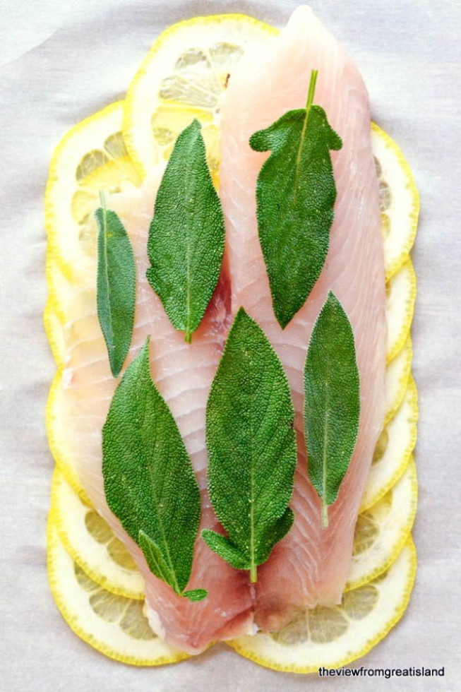 Healthy Lemon Herb Fish ready to bake in a parchment packet