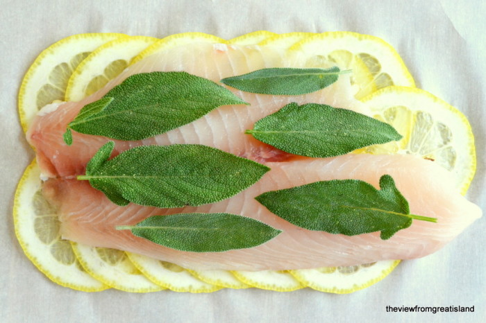 Roberta's Lemon Herb Fish topped with fresh sage