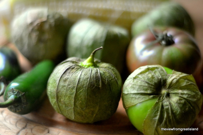 Ingredients for Fire Roasted Tomatillo and Corn Salsa