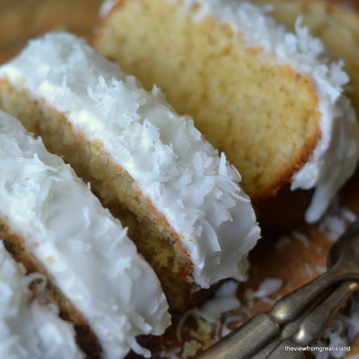 Fluffy moist pound cake with triple coconut flavor