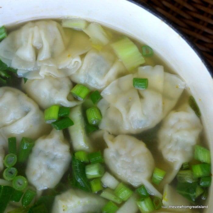 A pot of Miso Wonton Soup