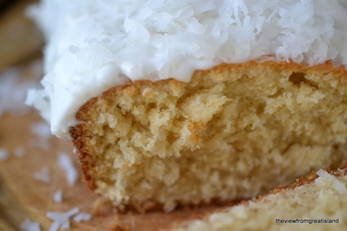 A slice of Triple Coconut Pound Cake.