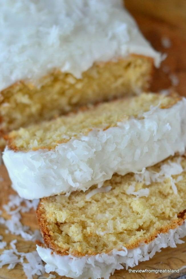A loaf of Triple Coconut Pound Cake.