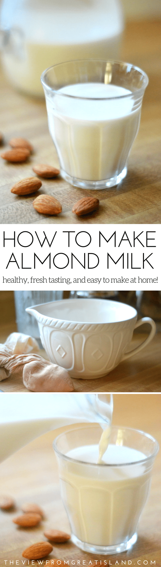 How to Make Almond Milk ~ this is a game changer, I promise! This non-dairy almond milk recipe is healthy, fresh tasting, and easy to make at home! #nondairy #milk #nutmilk #almondmilk #almonds #healthybeverage #nondairymilk #lactoseintolerant #nuts