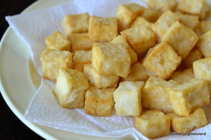 Fried tofu for Kung Pao Tofu