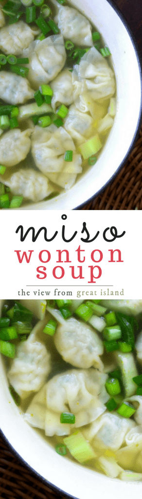 Miso Wonton Soup is healthy, hearty comfort food that can be on the table in less than 30 minutes.