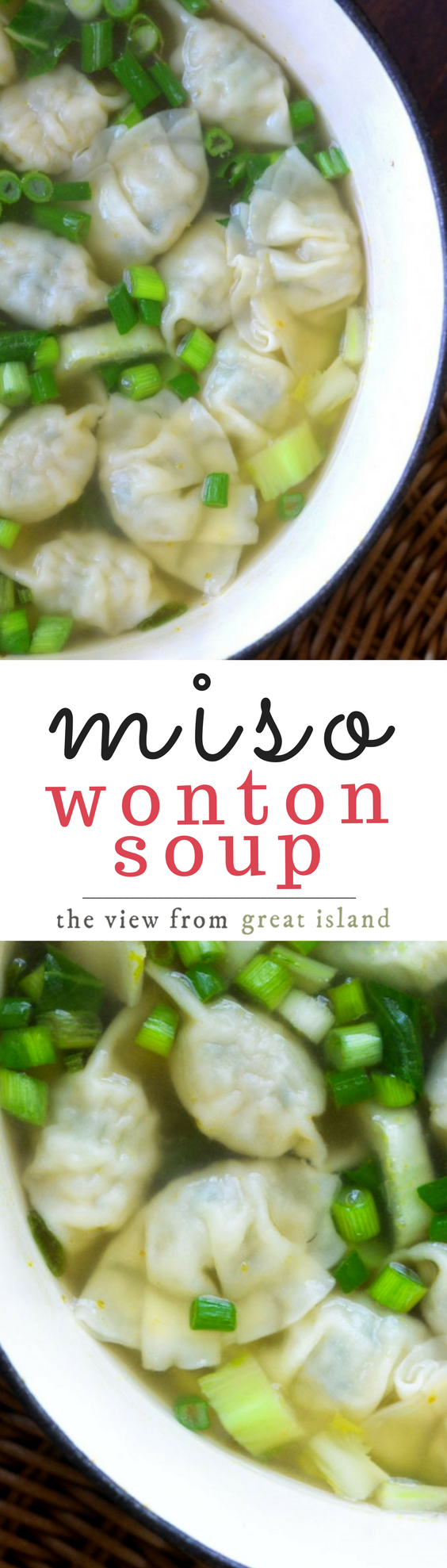 Miso Wonton Soup is healthy, hearty comfort food that can be on the table in less than 30 minutes.#30minutemeal  #miso #soup #healthysoup #Japanese #soy #superfood #healthysoup #dumplings #gyoza #chicken #noodlesoup #chickensoup #comfortfood #dumplingsoup #misosoup