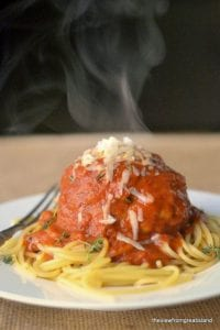 spaghetti with giant meatball