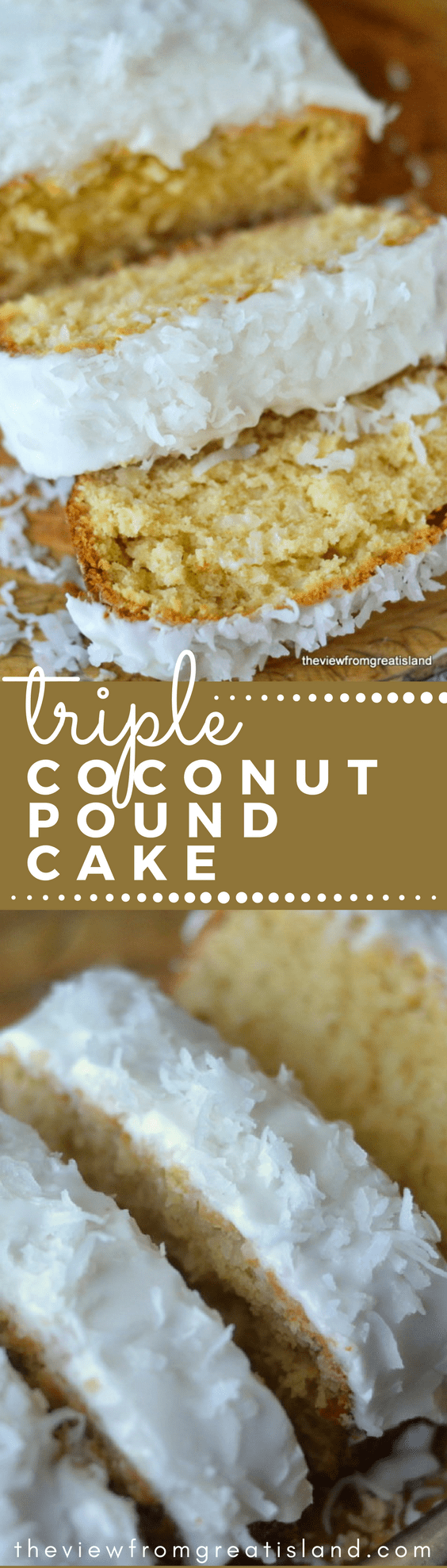 My Triple Coconut Pound Cake is a triple threat coconut experience for serious coconut lovers only!  #cake #coconut #snackcake #vanillacake #baking #loafcake #dessert #poundcake #coconutfrosting