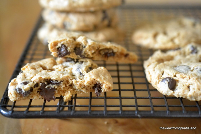 flourless cashew butter chocolate chip cookies on a cooling rack