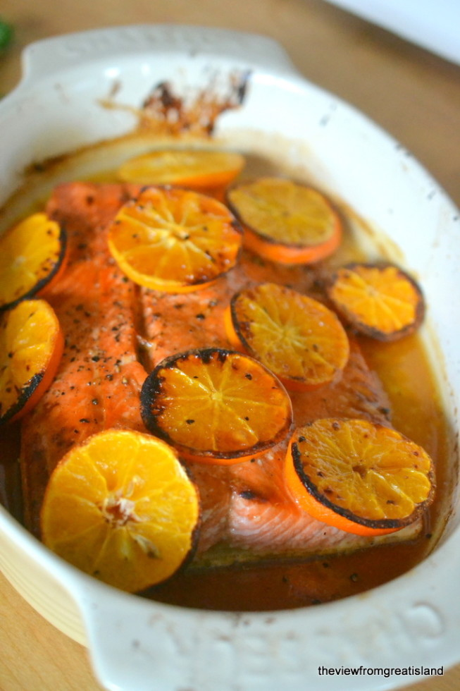 Vodka and Clementine Glazed Salmon just out of the oven