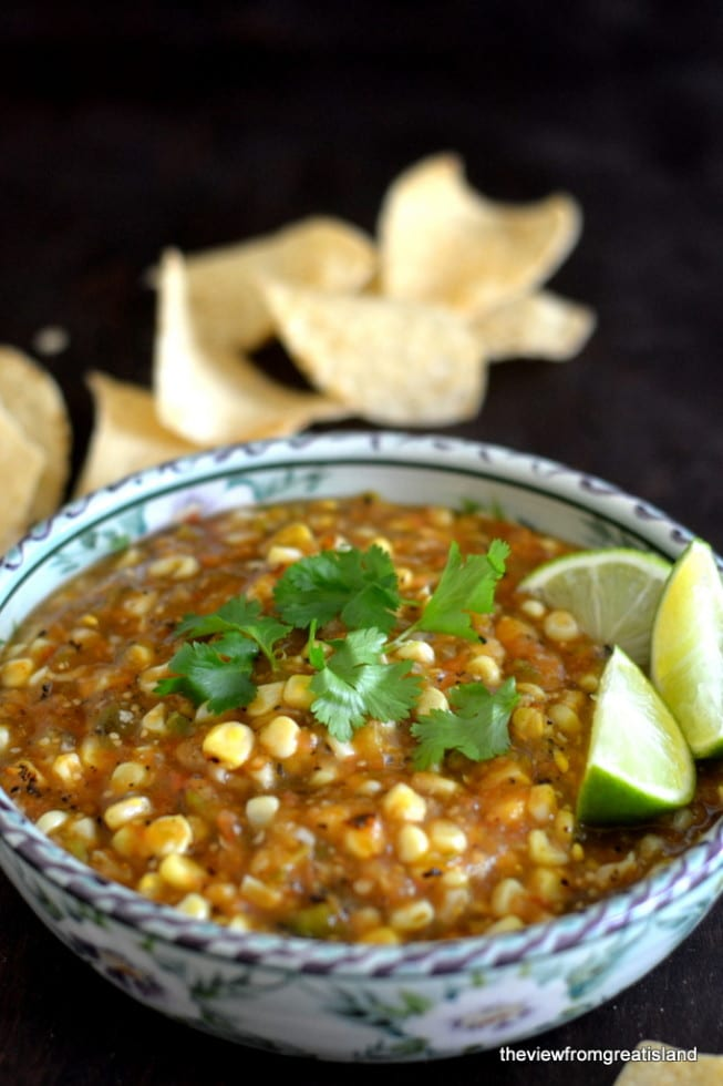 Fire Roasted Tomatillo and Corn Salsa | Homemade Salsa Recipes | Homemade Recipes