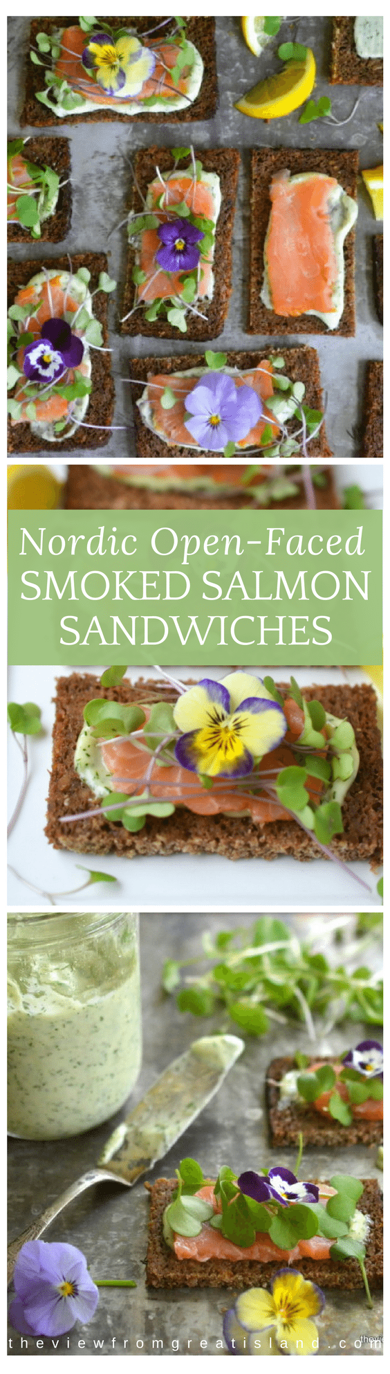 Nordic Open Faced Smoked Salmon Sandwiches are exquisitely delicate and healthy ~ this is clean eating that that also happens to be insanely delicious.#scandinavian #nordic #salmon #smokedsalmon #teasandwiches #snitter #openfacedsandwiches #healthy #afternoontea #hightea