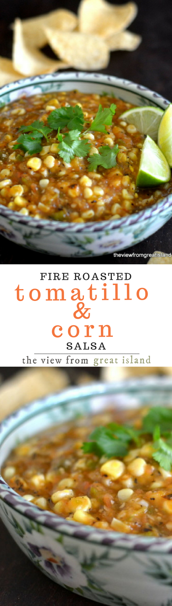 Fire Roasted Tomatillo & Corn Salsa ~ everything that goes into this zesty salsa is charred over an open flame first, so the rich, smokey flavor is infused throughout. Enjoy it with grilled meats, poultry, fish, and tacos, or simply with a big bag of tortilla chips. #salsa #appetizer #cincodemayo #memorialday #summer #4thofjuly #corn #tomatillo #fresh #homemadesalsa #recipe #cornsalsa #mexicansalsa