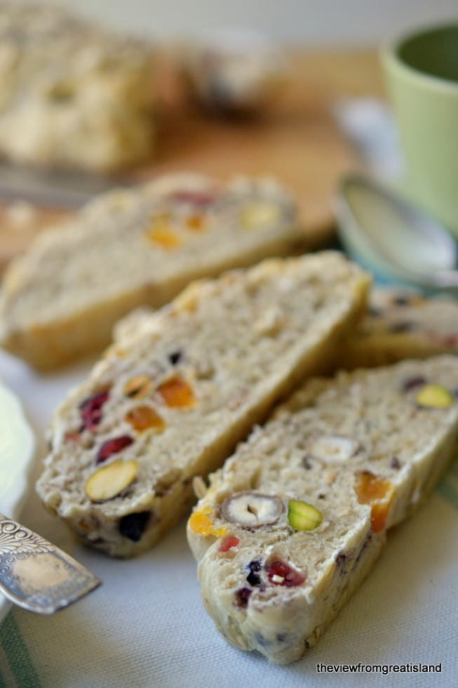 Muesli Toasting Bread is a chunky fruit and nut yeast bread just made for toasting!