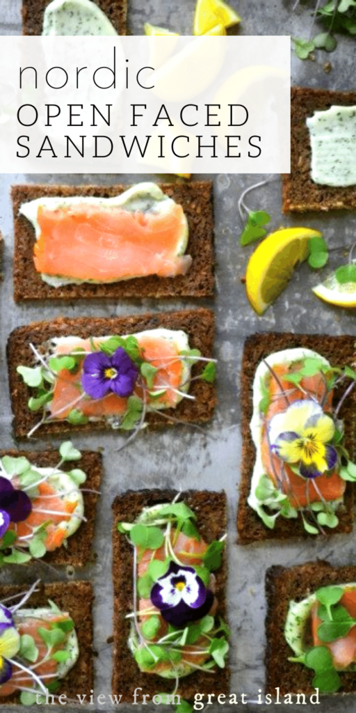 Nordic Open Faced Smoked Salmon Sandwiches pin.