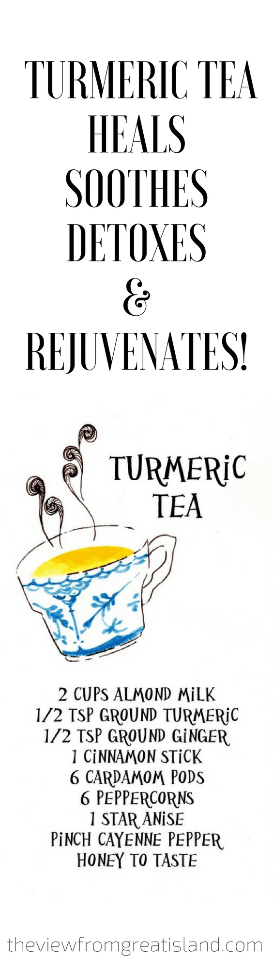 Turmeric Tea ~ Its anti-inflammatory properties are legendary, so give this nurturing tea a try if you're stuffed up, sore, or coughing. It makes a great calming bedtime drink, too, even if you're perfectly healthy. #healthy #healing #detox #turmeric #turmericmilk #goldenmilk #fluremedy #homeremedy #sleeptea #tea #ginger