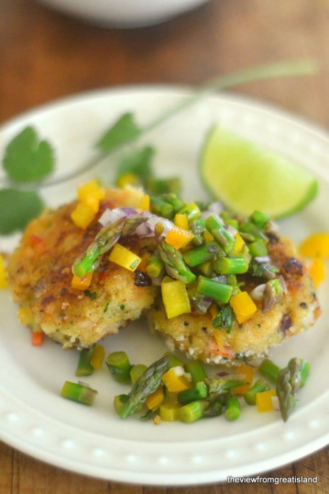 Shrimp Cakes with Asparagus Salsa 2
