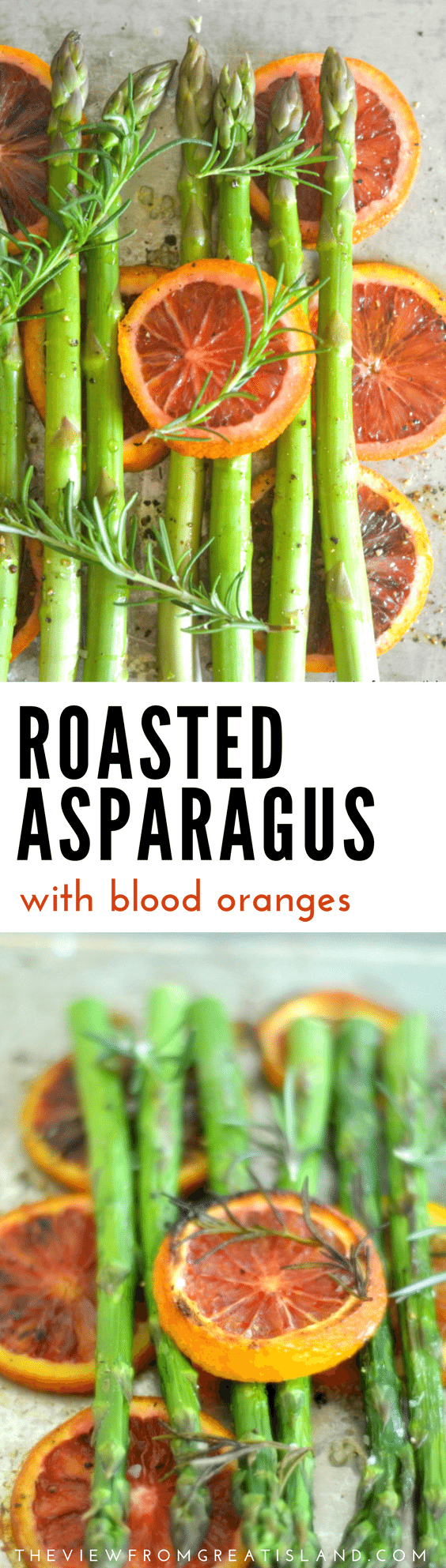 Asparagus roasted with blood oranges reflects a fleeting moment in time...the blood oranges are on their way out just as the asparagus are coming into season and the two cross paths for one brief moment.  Healthy, simple,  glorious.  #asparagus #roastedasparagusrecipe #bloodoranges #bloodorangerecipe #paleo #vegan #vegetarian #vegetables #springvegetables #citrus #healthyrecipe #sidedish