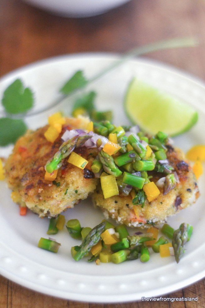 healthy and light shrimp cakes with asparagus salsa