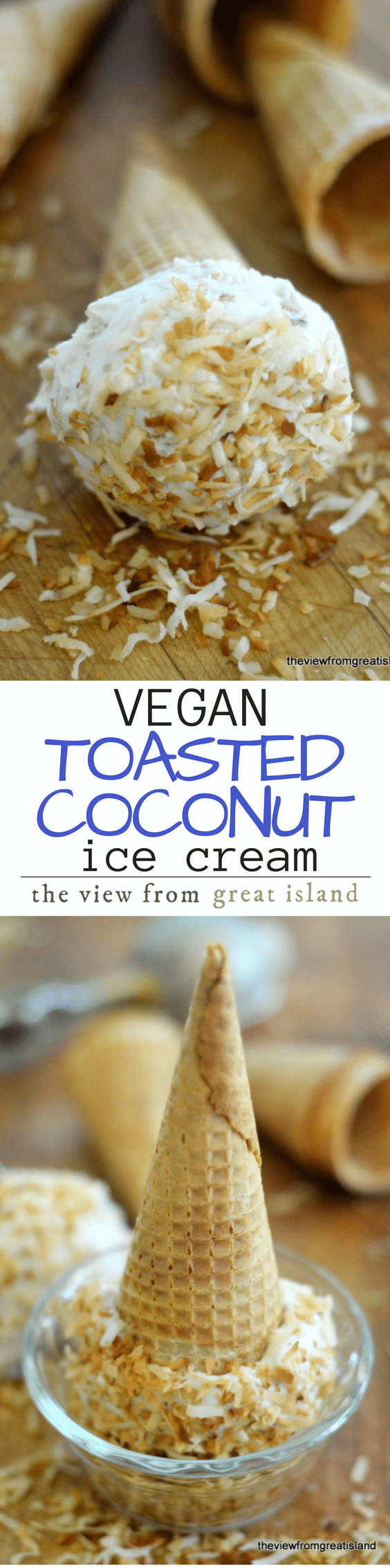 Vegan Toasted Coconut Ice Cream ~ you'd never know this luscious homemade ice cream was non-dairy ~ it's got a wonderfully creamy texture and a fabulous coco-nutty flavor!