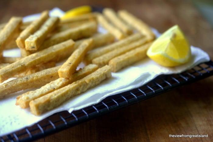 Chickpea Fries with Tahini Yogurt Dip 2