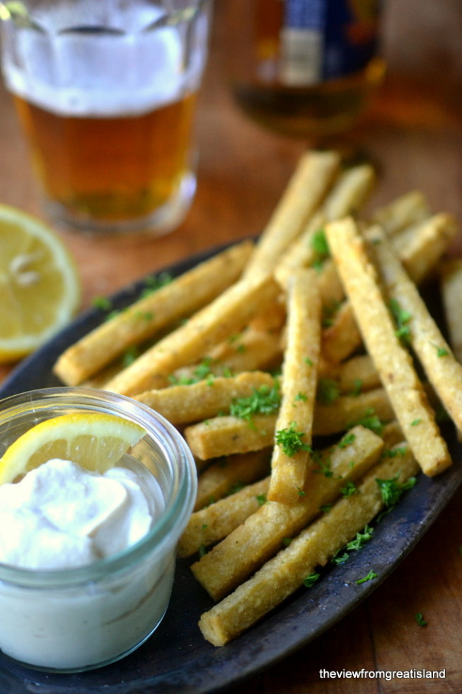 Chickpea Fries with Tahini Yogurt Dip