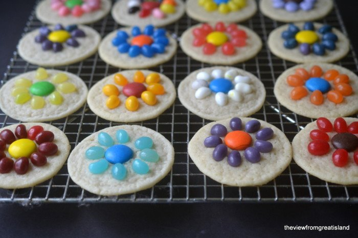 Easy jelly bean flower cookies the view from great island for Quick and easy easter treats recipes