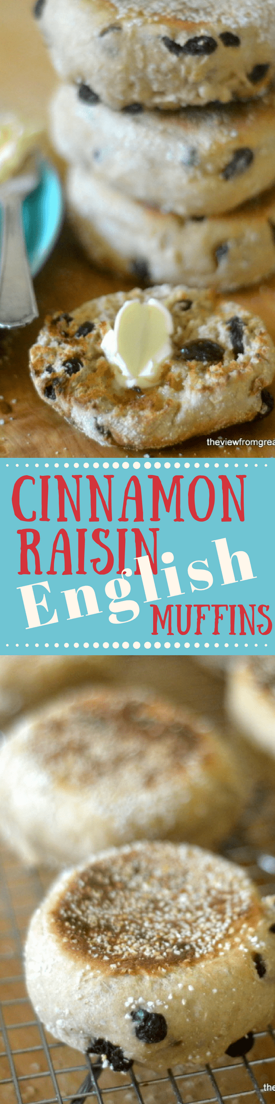 There's nothing quite like your own Homemade Cinnamon Raisin English Muffins ~ and you don't even have to turn on the oven to make them!