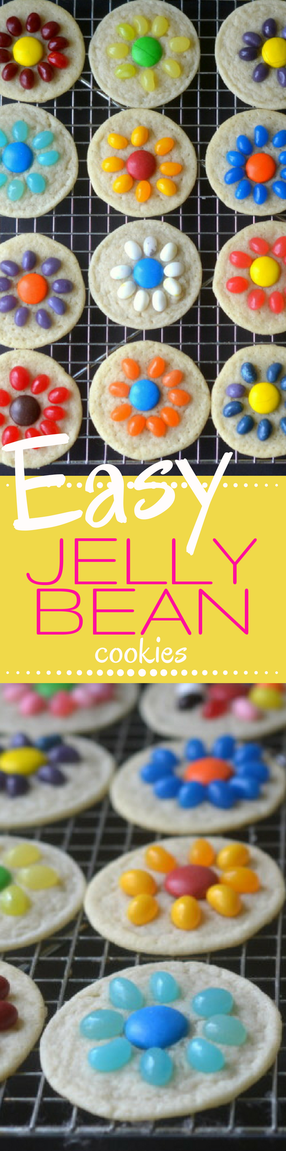 Easy Jelly Bean Flower Cookies ~ a quick and easy springtime slice and bake sugar cookie that kids can do themselves!  Great for Easter and Mother's Day. |easy dessert | kid's cooking | shortbread | candy |